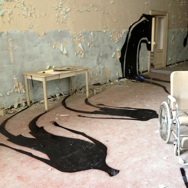 Ghostly Shadow Art in an Abandoned Mental Hospital
