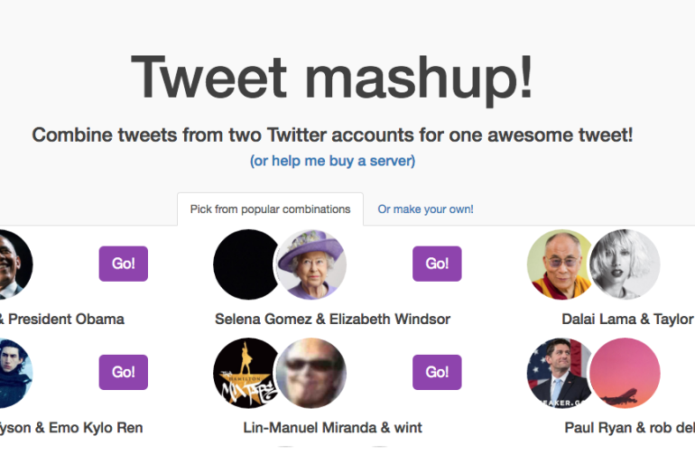 Tweet Mashup – Combine tweets from two Twitter accounts for one hilarious tweet!
