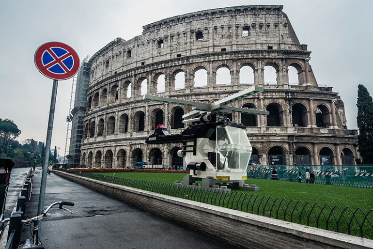 Lego into the everyday urban landscapes of Rome by Domenico Franco