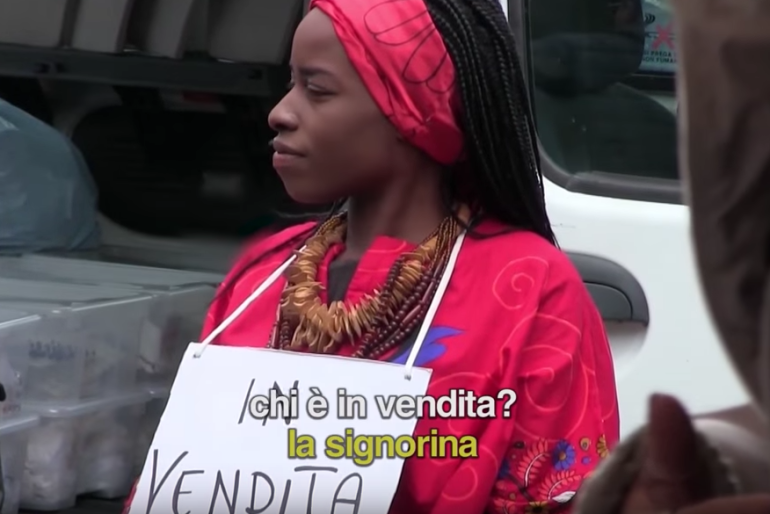 Selling Nigerian Woman at Naples open-air market – Social Campaign
