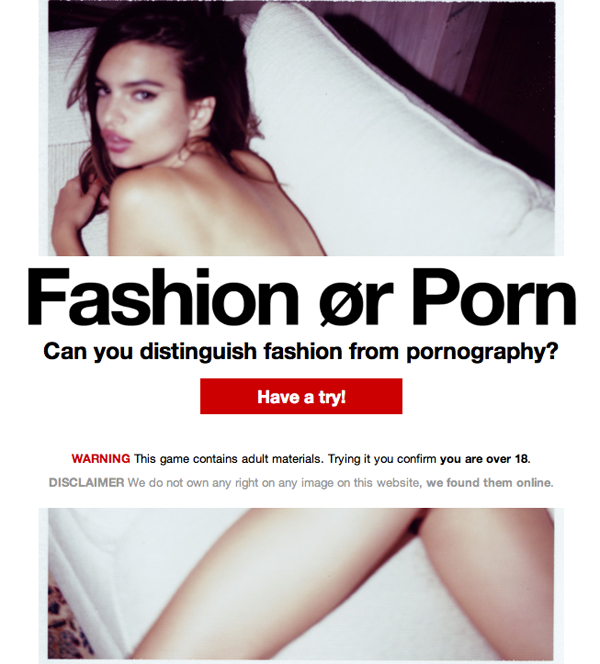 Fashion or Porn? Can you distinguish fashion from pornography?