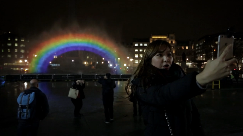Rainbow fountain in Trafalgar Square to Celebrate New LGBT life Channel