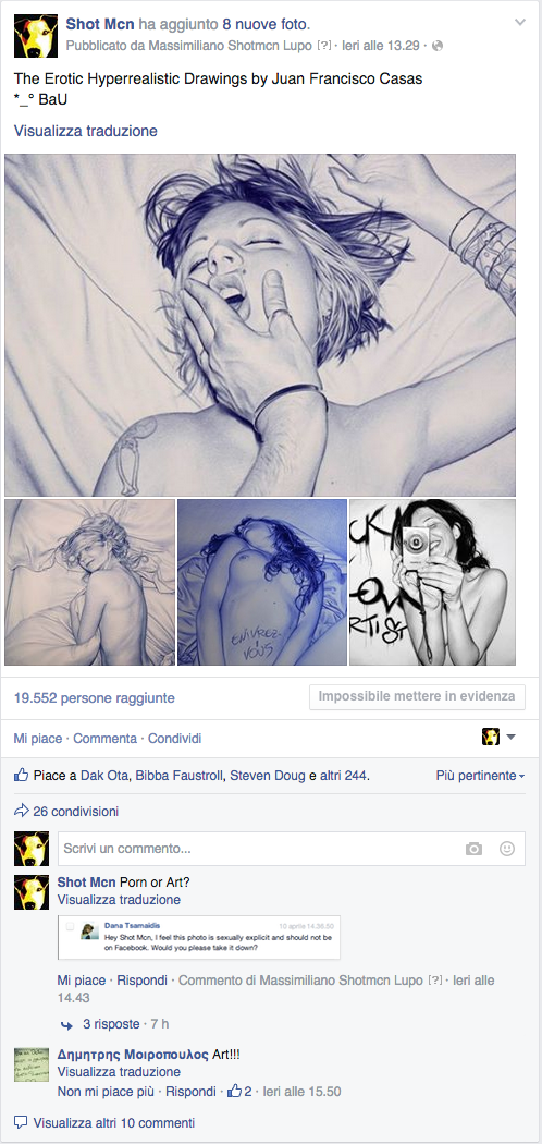 Facebook banned me again for The Erotic Hyperrealistic Drawings by Juan Francisco Casas - Porn or Art?