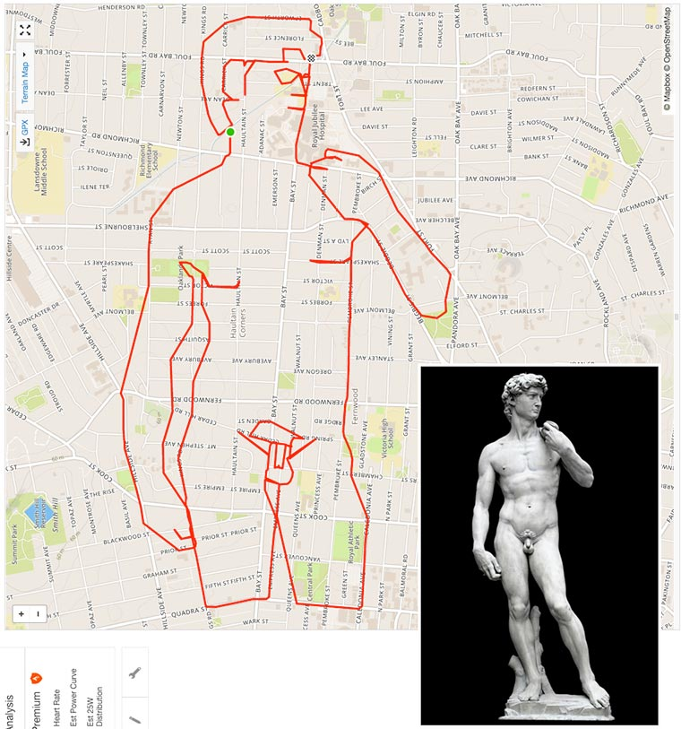 GPS Doodles – An artist draws on the maps thanks Gps & His Bike