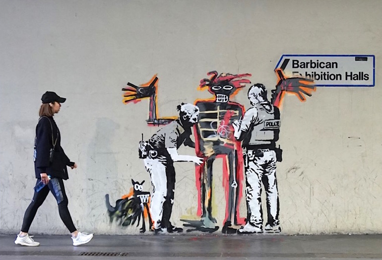 Tribute to Basquiats – Two new Banksy artworks on wall of Barbican Centre